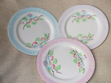 3 X RARE HARLEQUIN SIDE PLATES ROYAL STAFFORD FLORAL GLORY BLUE PINK LILAC RIMS